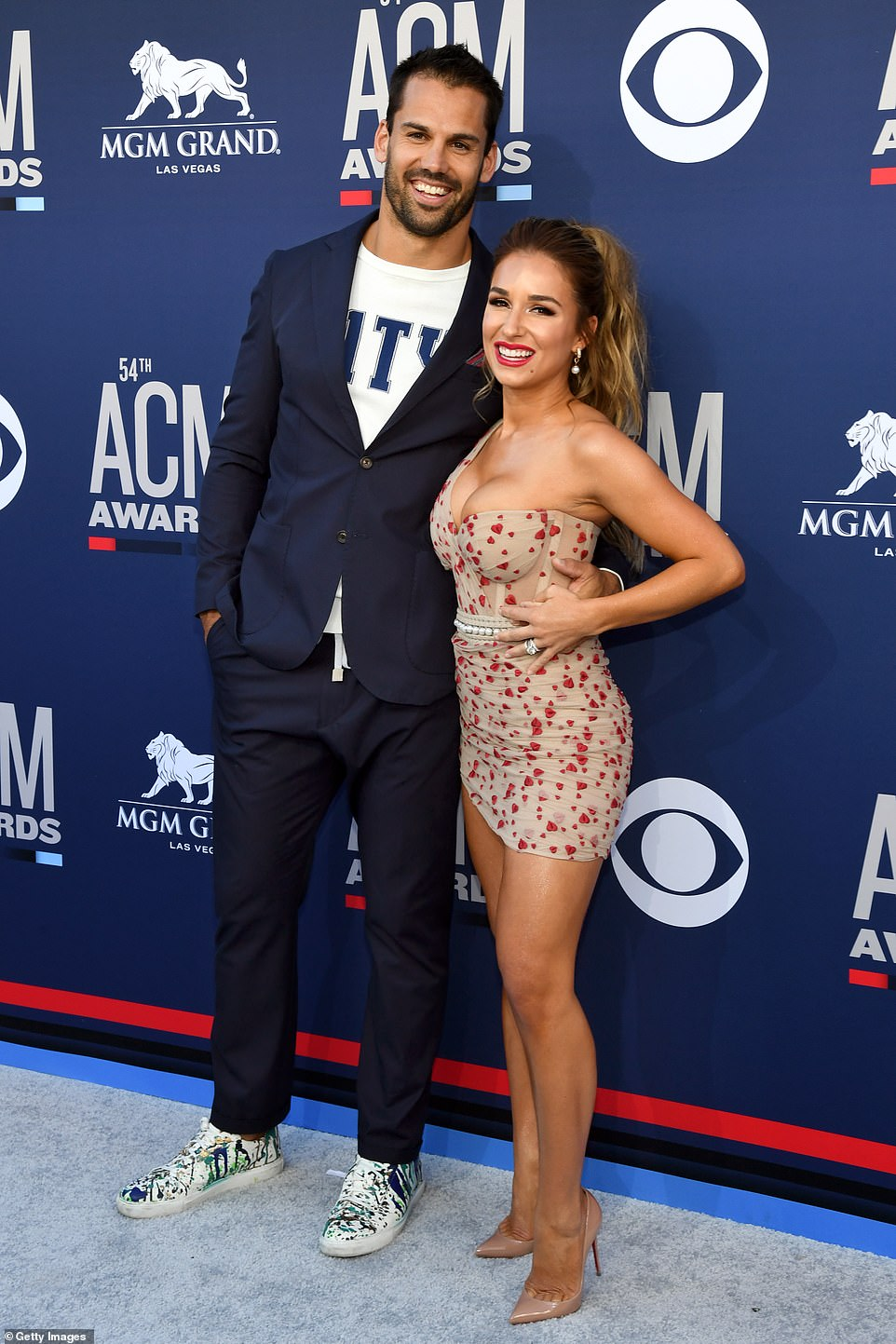So in love: Here she is seen with Eric at the54th Academy Of Country Music Awards in Las Vegas in April