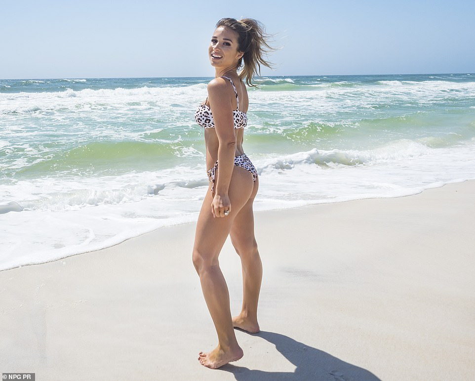 Like a model:Decker looked as fit as can be in a little leopard print bikini that made the most of her petite frame