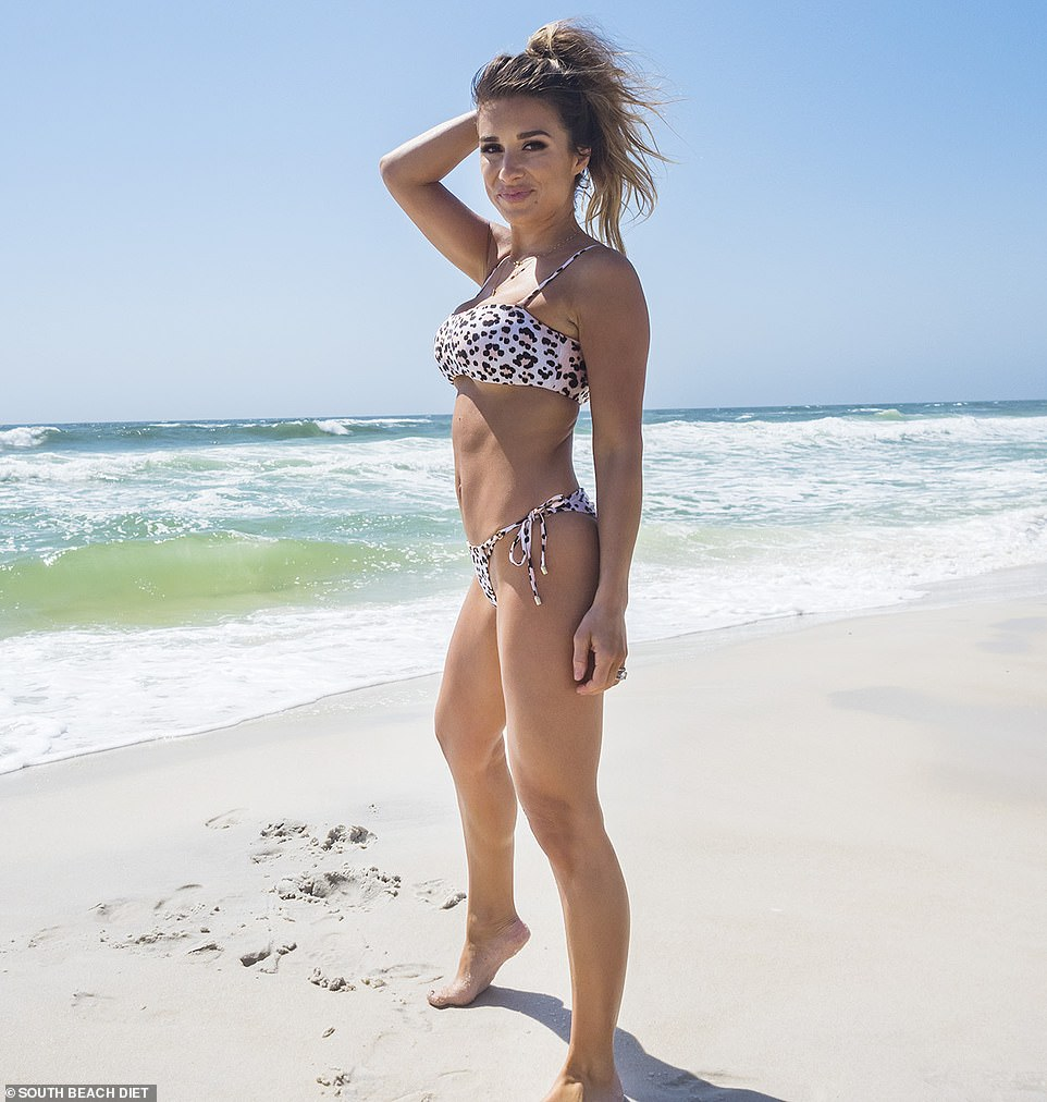 A new look: Jessie James Decker posed in a leopard print bikini as she showed off her figure after losing 25lbs on the South Beach Diet this year