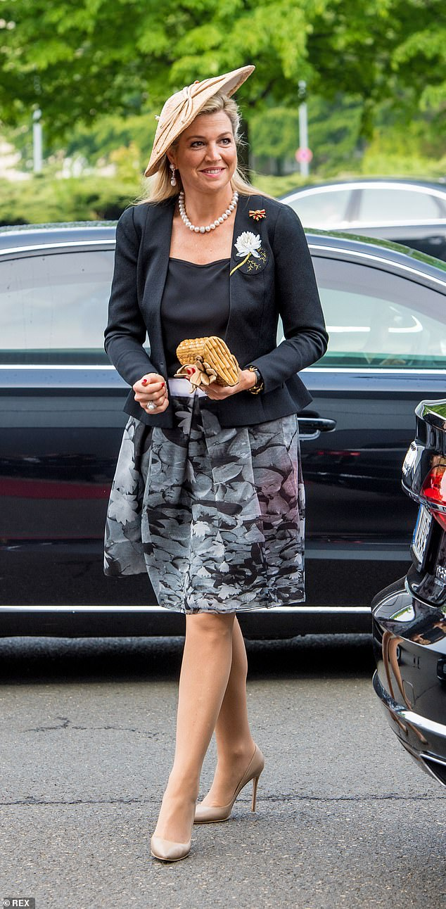 Queen Maxima of the Netherlands as she stepped out during a visit to MV Werften in Rostock, Germany, on the second of three day visit to the country