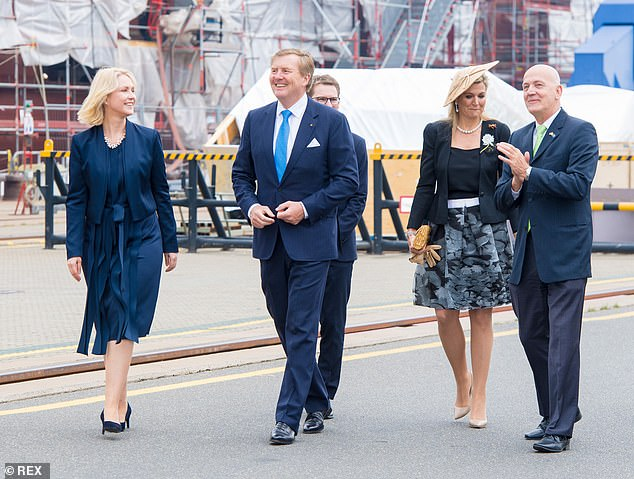 Yesterday, the Dutch couple were offered a lunch by the Prime Minister before King Willem-Alexander gave a speech at Schwerin Castle on the importance of working together and building on the Hanze period