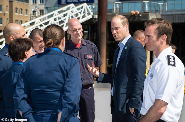 William, Duke of Cambridge meets representatives of the Royal National Lifeboat Institution, Metropolitan Police and London Fire Brigade pass during the launch of a new campaign