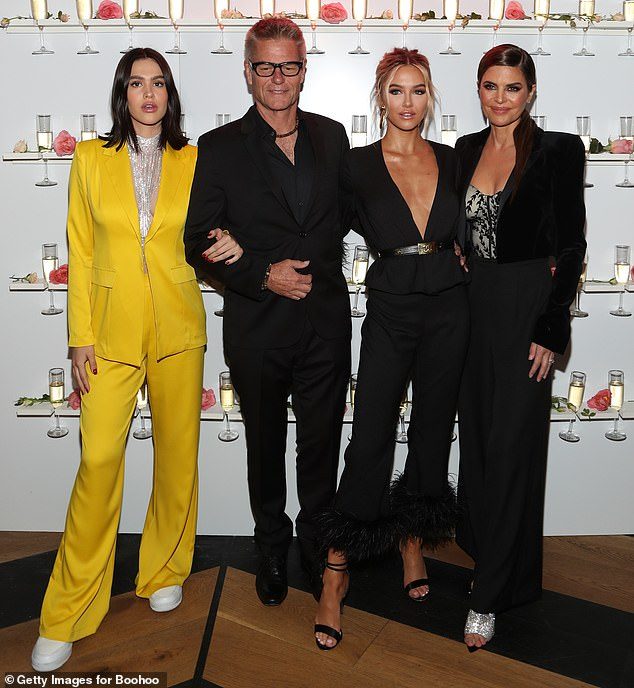 Sweet: The model, 20, was joined by her supportive family - sister Amelia Gray, 17, mother Lisa Rinna, 55, and father Harry Hamlin, 67, at the event