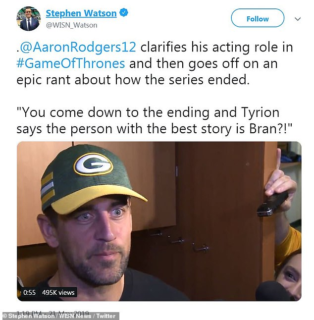 Rant:Still, Rodgers didn't agree with that assessment that Bran had the 'best story' of anyone in Westeros, which lead to him taking the throne