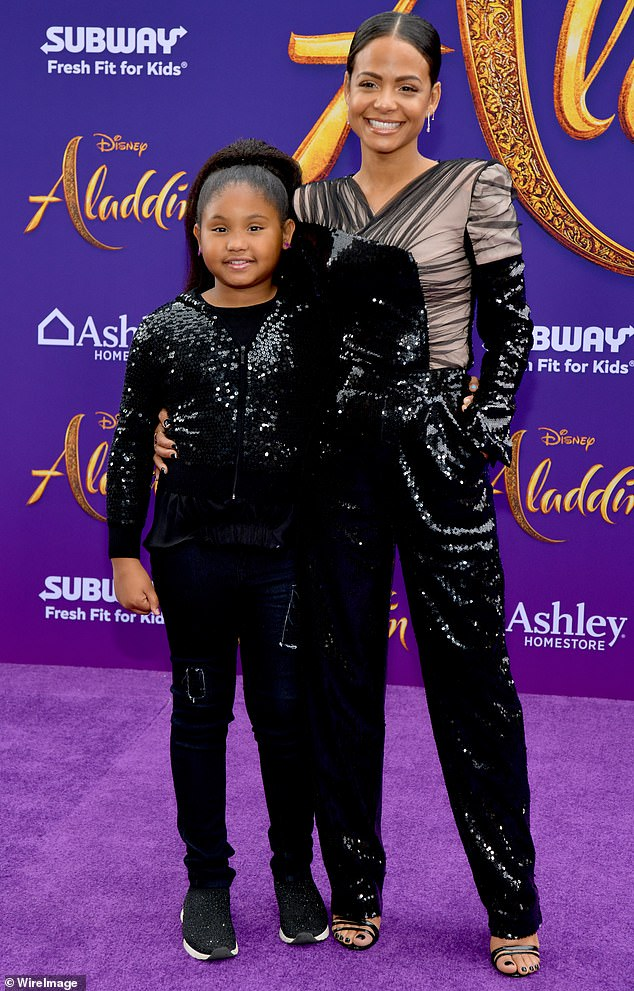 Family affair: The singer/actress rocked a dazzling mesh and black sequin number as she was joined by her daughter Violet Madison Nash, nine