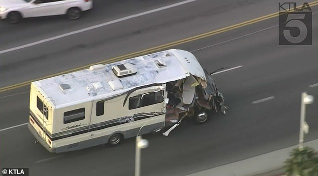 A woman driving a RV led police on a wild 60mph chase through the streets of Santa Clarita, near Los Angeles in Southern California on Tuesday evening