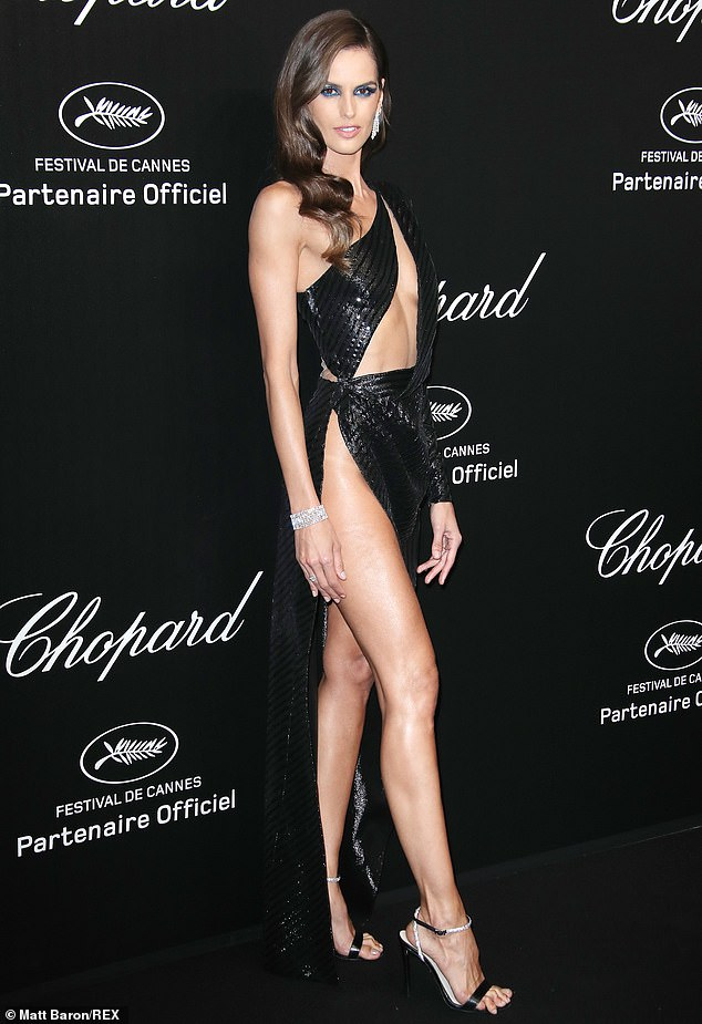 Jaw-dropping:She was the picture of glamour as she attended the Chopard jewellery bash during the 72nd Cannes Film Festival on Friday