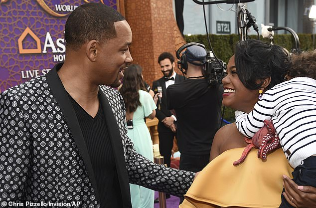 Catching up: Smith and Ali shared kind words at the glitzy Hollywood premiere