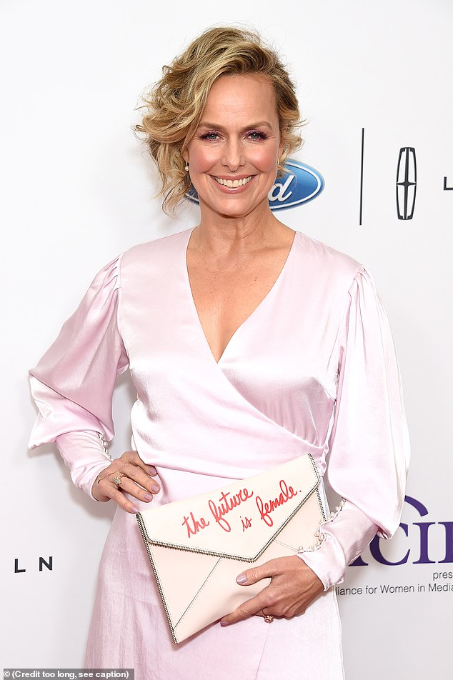 On brand: She carried a white clutch embroidered with the phrase: 'the future is female' to the award show named after comedy legend Gracie Allen