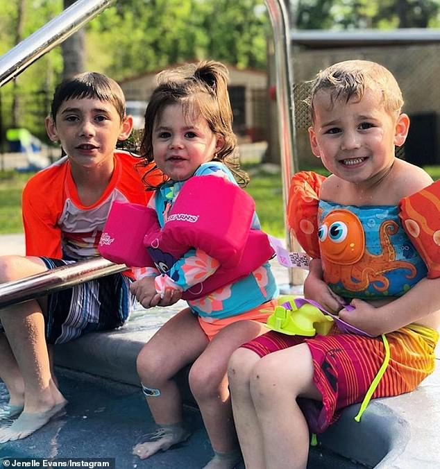 CPS: The violent incident led to the troubled 27-year-old losing custody of all three of her children - (from L-R) son Jace, 9; daughter Ensley, 2; and son Kaiser, 4 (pictured April 27)