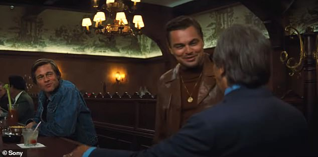 Star-studded: The trailer starts with Dalton and Booth meeting with film producer Marvin Schwarzs (Al Pacino) who humorously mistakes Booth for Rick Dalton's (Leonardo DiCaprio) son
