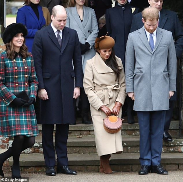 The Duke and Duchess of Cambridge with Meghan and Prince Harry at Sandringham on Christmas 2017, months before the royal wedding
