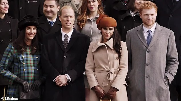 Tiffany as Meghan alongside British Polkdark star Charlie Field, who plays Harry, 34, and actors playing the Duke and Duchess of Cambridge. This scene shows Sandringham at Christmas