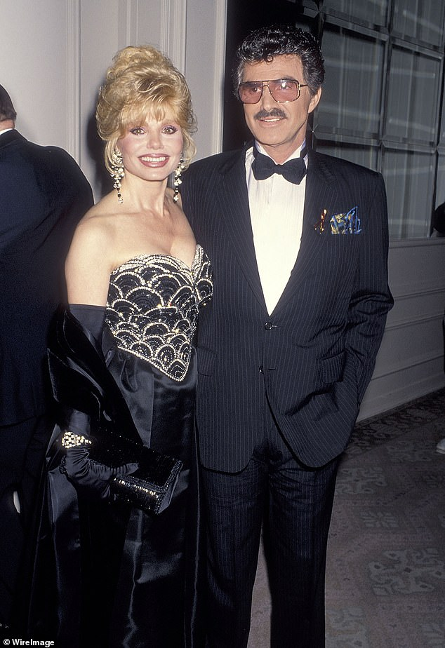 Mr Cool of the day: Pitt also talked about working with legend Reynolds on Once Upon. 'I'll tell you one of the greatest moments I've had in these however many years we've been at it in this town: getting to spend two days with Burt Reynolds on this film… It was a f***ing pleasure.' Seen with Loni Anderson in 1993