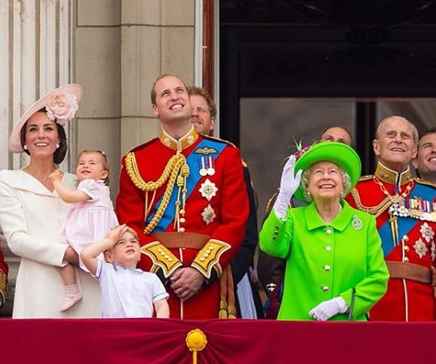 But William and Kate go for a family photo — William, Kate, George and Charlotte with the Queen and other family members on the Palace balcony