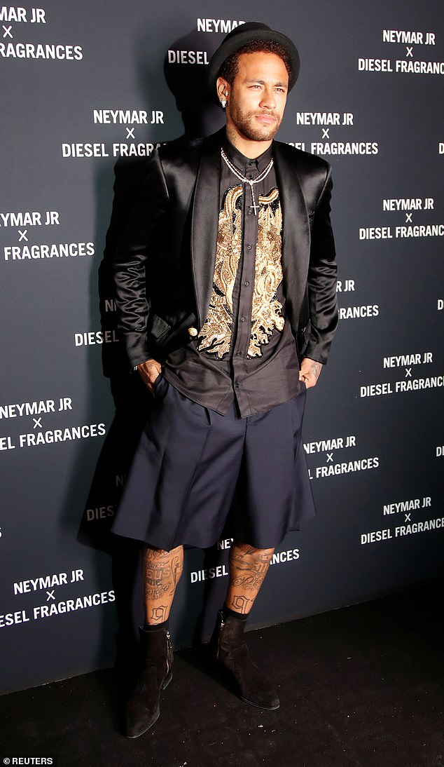 Shorty got his eyes on me: All eyes were on Neymar at the launch of his latest campaign on Tuesday night, as he stepped out at the Diesel 'Spirit Of The Brave' fragrance party in Paris