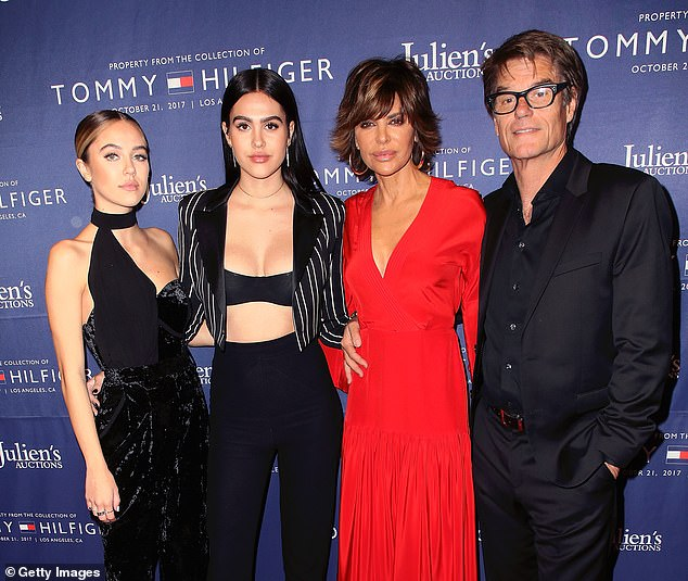 Famous family: Delilah Belle (far left) is the eldest daughter of actors Harry Hamlin and Lisa Rinna and has a younger sister named Amelia