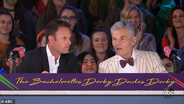 Dudes derby: Chris Harrison and actor Fred Willard provided commentary on the derby