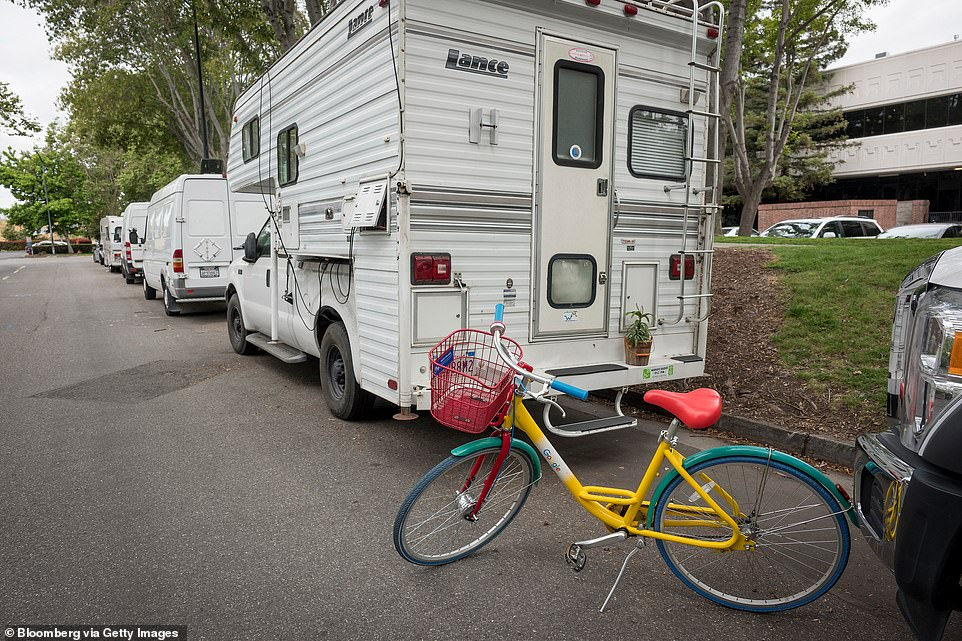 Indicators of Google employees living in trailer homes are the campus bikes spotted near the RVs