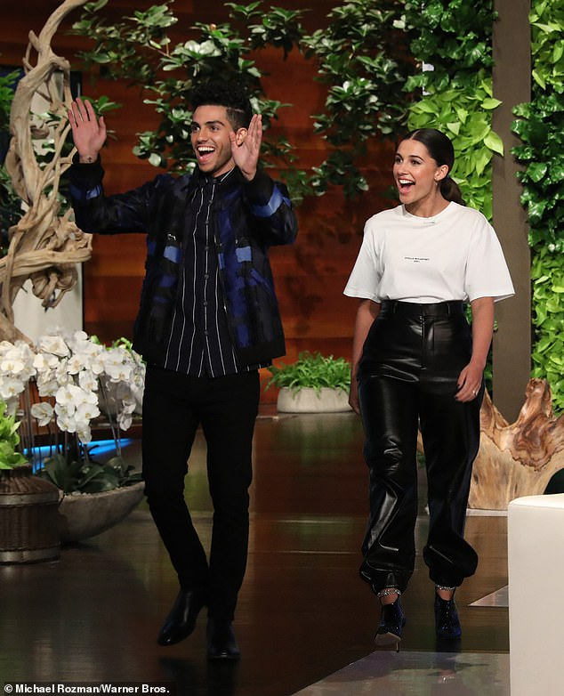 Friends from work: Then, Ellen and Will were joined by his Aladdin co-stars Mena Massoud and Naomi Scott to discuss the highly anticipated live-action remake