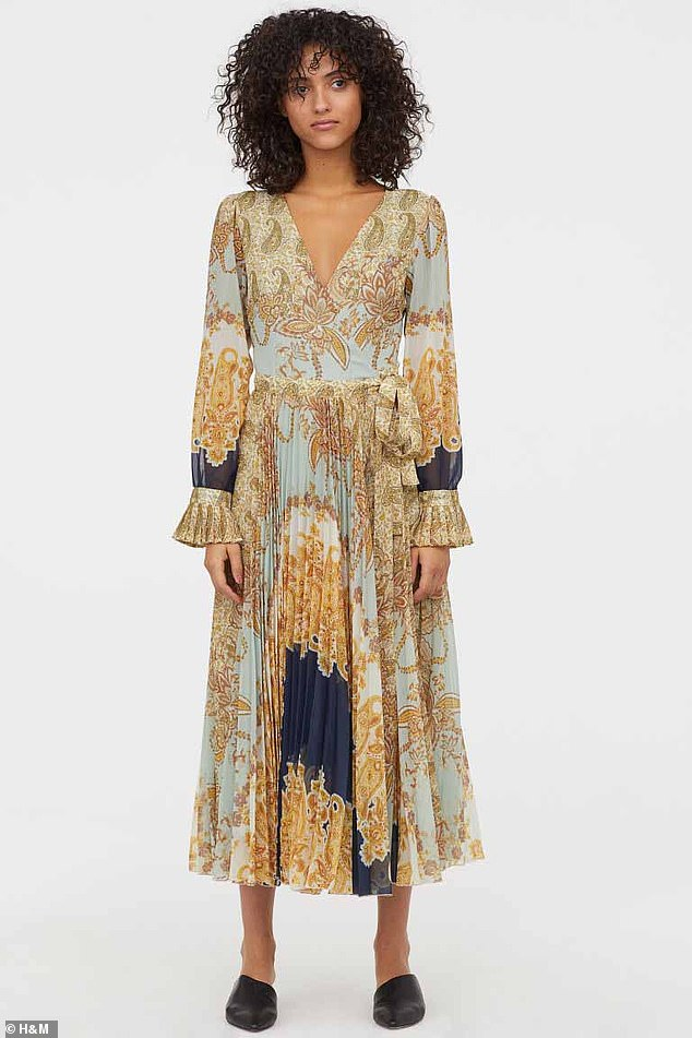 Describing the dress online, the Swedish retailer says: 'Long dress in airy, patterned chiffon with a V-neck and wrapover front with ties at one side