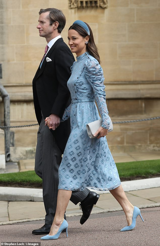 Pippa, 35, was the picture of elegance in a £695 dress by Kate Spade as she attended the nuptials of Lady Gabriella Windsor and Thomas Kingston at St George's Chapel, Windsor Castle, on Saturday. Pictured, arriving with husband James Matthews