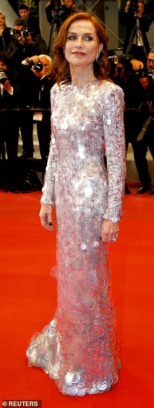 Iridescent: The Greta star cut a sophisticated figure in a floor-length iridescent gown which hugged the actress' enviable curves