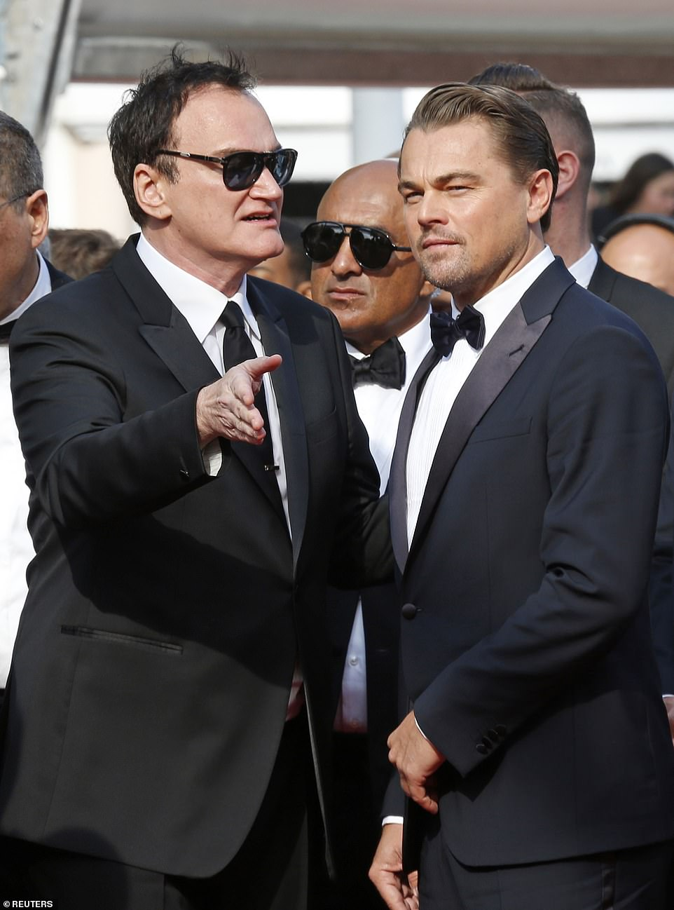 Off we go: Quentin Tarantino was talking to star of the show Leonardo on the red carpet