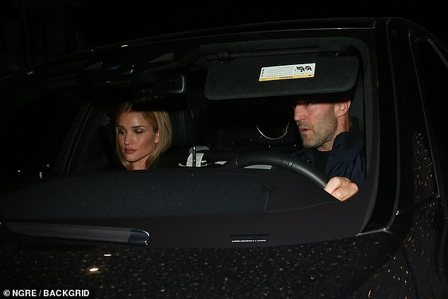 Relaxed: The couple looked chilled as they headed home after their romantic dinner