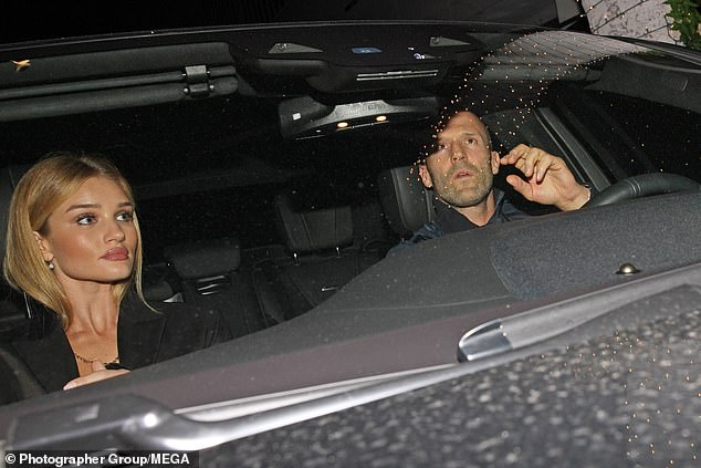 Glow:The supermodel, 32, and the action star, 51, enjoyed a rare night off parenting duties to toddler son Jack during their evening out at the Italian eaterie