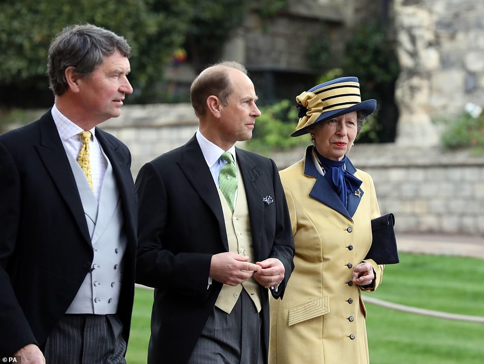 (From left) Timothy Laurence, The Earl of Wessex and The Princess Royal arrive ahead of the wedding on Saturday