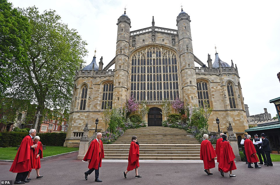 St George's Chapel is adorned in pink and white spring flowers ahead of the wedding of Lady Gabriella Windsor