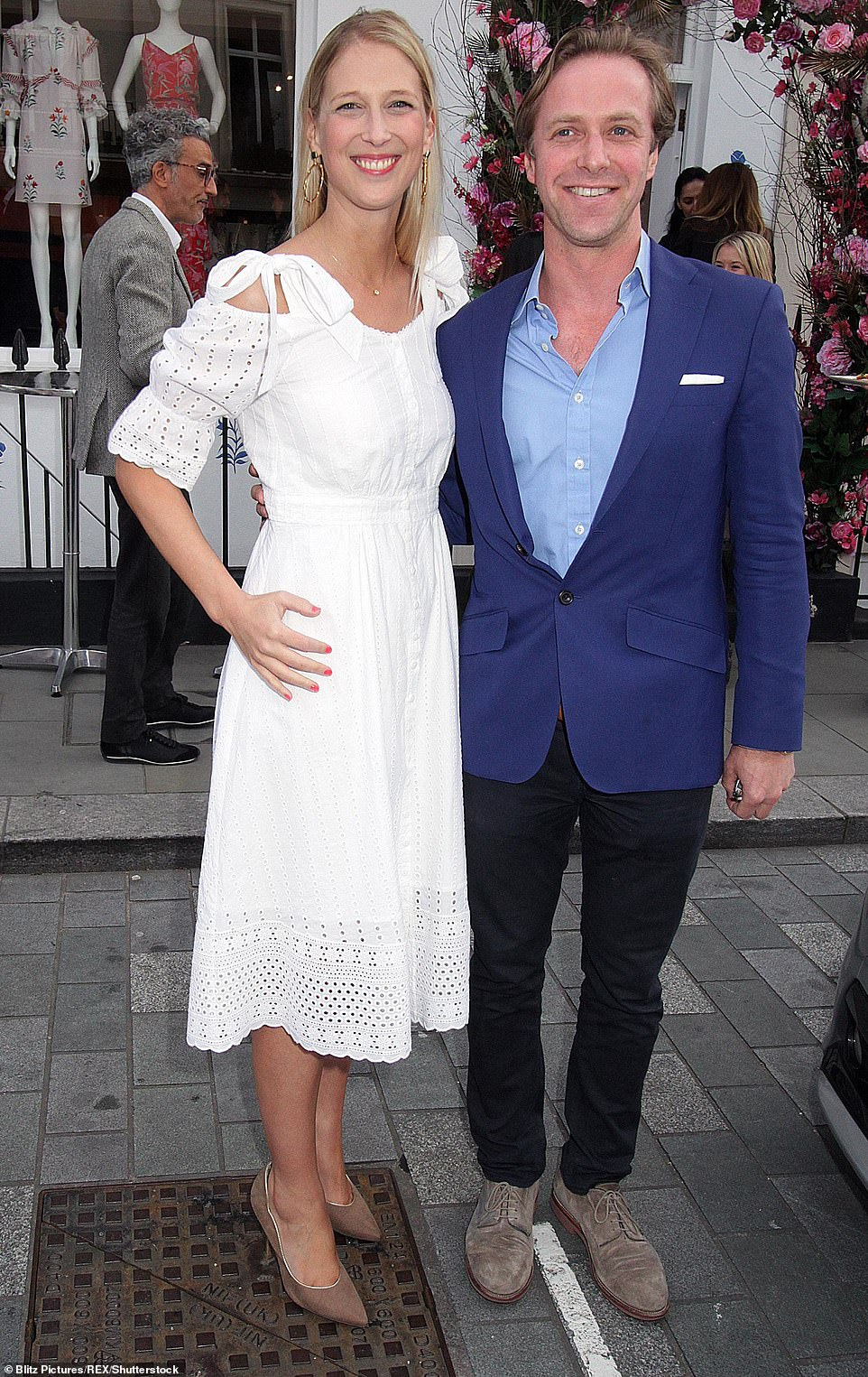 The happy couple: Bride-to-be Lady Gabriella Windsor, 38, with fiance Tom Kingston in London in May last year. The couple will marry at St George's Chapel, Windsor Castle, on Saturday