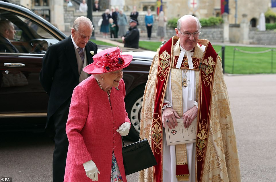 The Queen and Philip were driven to the chapel by car, with the Queen exiting the vehicle ahead of Philip. They greeted the clergy, before entering the venue together