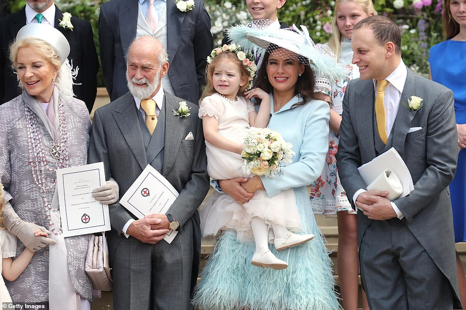 Prince and Princess Michael of Kent, Sophie Winkleman and Lord Frederick Windsor pose after the weddin