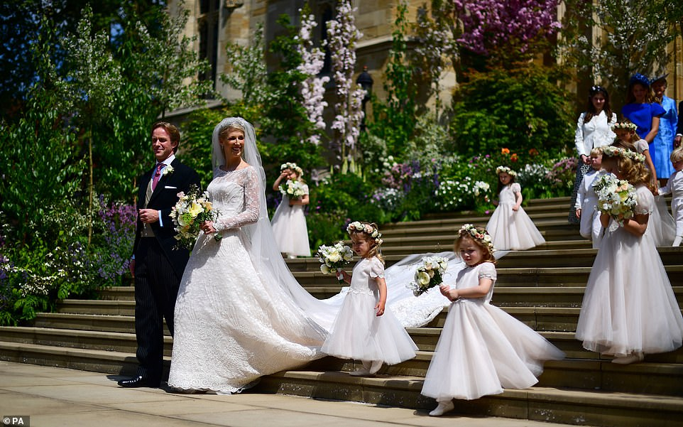 Lady Gabriella Windsor and Thomas Kingston were pictured leaving St George's Chapel in Windsor Castle following their wedding on Saturday