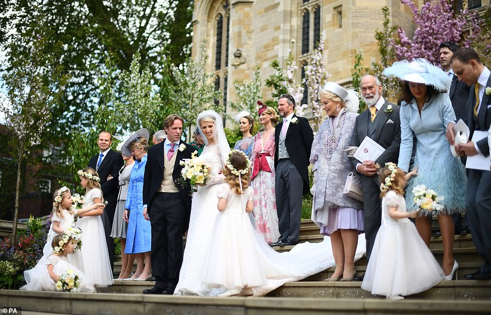 Lady Gabriella Windsor and Thomas Kingston smiled with their family members as they posed for a photo at St George's on Saturday
