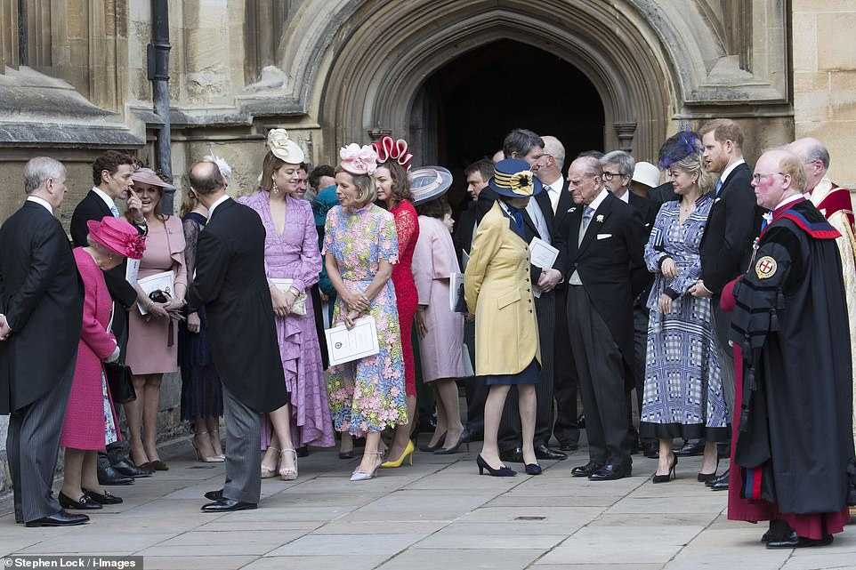 Members of the royal family and their guests left Lady Gabriella Windsor's wedding at St.George's Chapel on Saturday