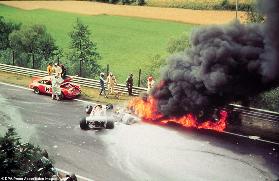 The burning Ferrari of Austrian Formula 1 world champion Niki Lauda after an accident on the 1st of August in 1976 at Nurburgring. Lauda escaped death in the last second, he was pulled out of the burning wreck by his Formula 1 rivals