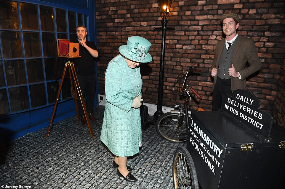 The Queen was shown a replica of the firm's first delivery bike, used to take goods to customers in Croydon, south London