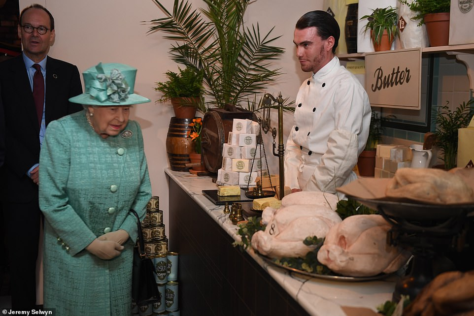 Whole chickens, sticks of butter and tins of coffee were on display at this counter visited by the Queen this morning