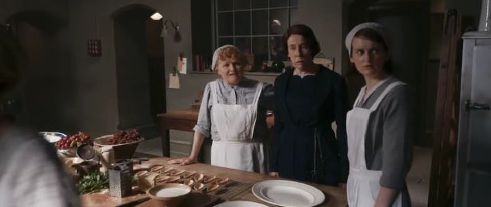 Downstairs: Mrs Patmore (Lesley Nicol), Mrs Hughes (Phyllis Logan) and Daisy (Sophie McShera) all make an appearance