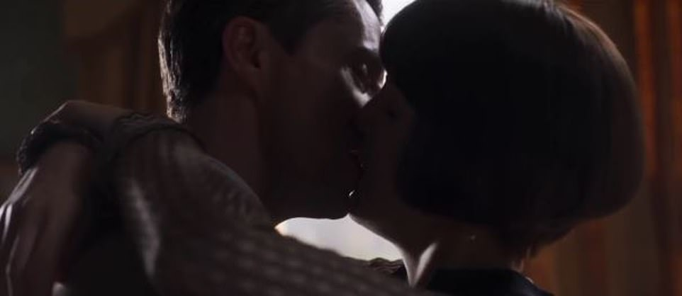 Long term love: Lady Mary is seen sharing a passionate kiss with husband Henry Talbot int he trailer