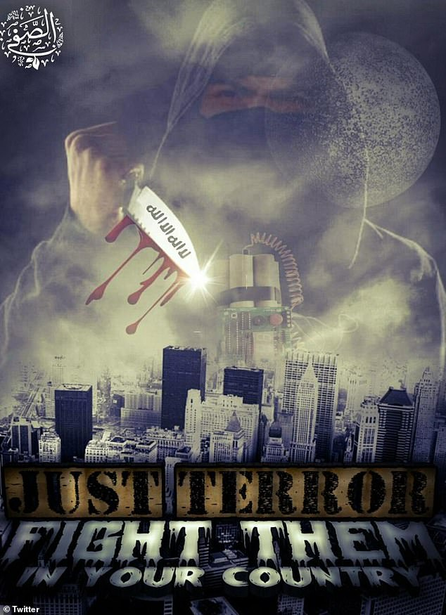 The poster depicting New York (above) shows a knife-wielding suicide bomber bearing down on the city and incites lone wolf attackers to fight on their own soil