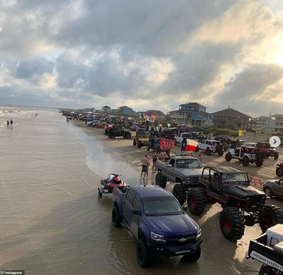 Police struggled to cope with the number of large vehicles on the beach as well as the high tide which made it difficult to access with their patrol cars