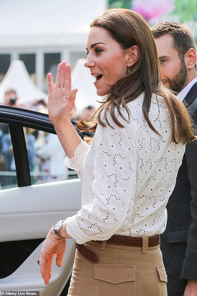 The Duchess of Cambridge departs after visiting her Back to Nature garden at the Chelsea Flower Show on Monday