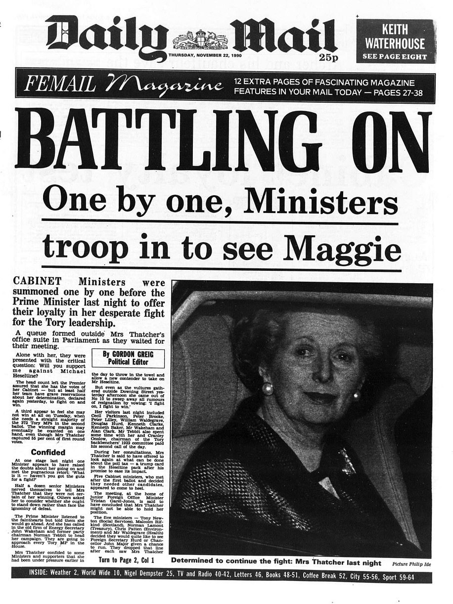 The Daily Mail front page from November 22 - six days before she resigned as Prime Minister - shows Margaret Thatcher in tears in the back of her car, much like Mrs May last night