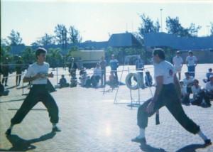 Shifu Ave demonstrating Iron throat circa 1989