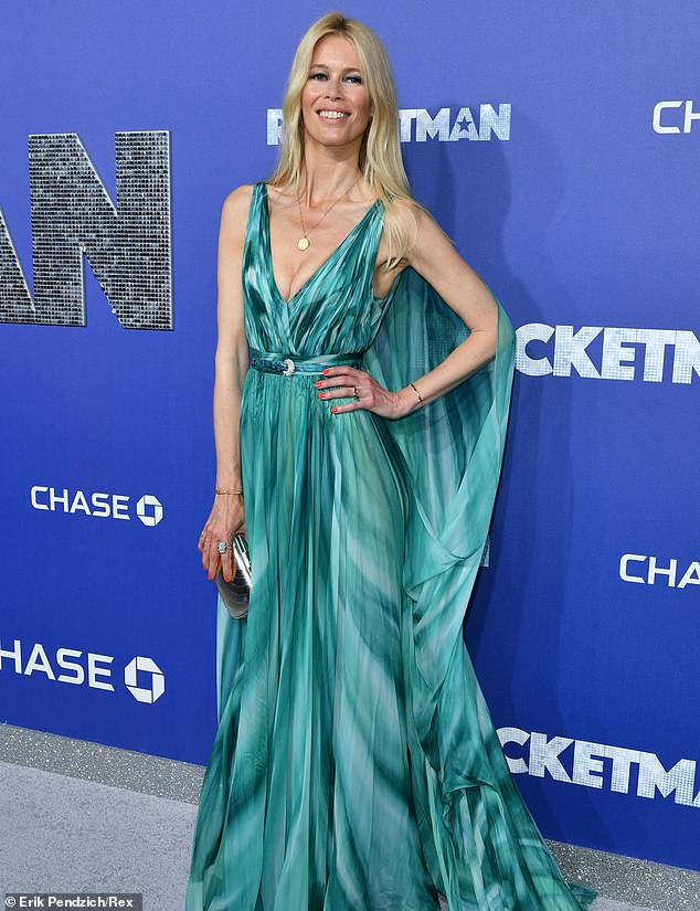Executive producer: Claudia Schiffer attended the New York City premiere Wednesday of Rocketman after serving as an executive producer of the musical biopic