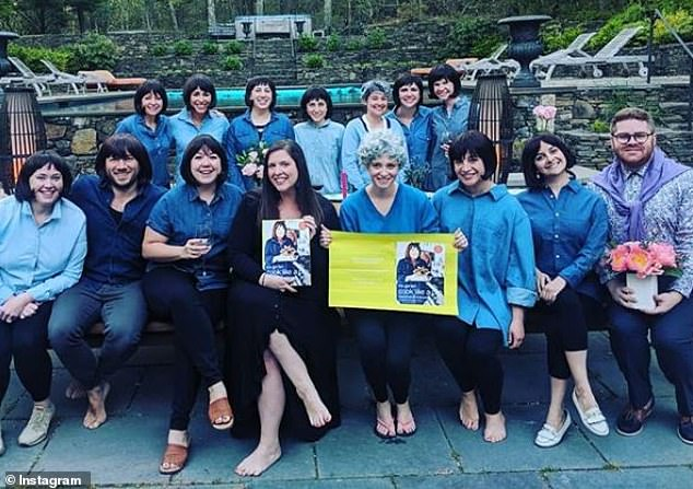 Amazing: Bride-to-be Nicole Garvey (dressed in black) was thrown an Ina Garten-themed dinner on the last night of her 'Hampton's Hen' weekend in New York